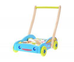 Veľký drevený vozík s kockami 40ks EcoToys