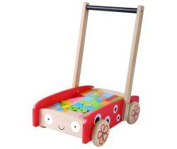 Veľký drevený vozík s kockami 42ks EcoToys Beruška