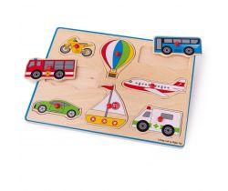 Vkladací puzzle Bigjigs Toys Dopravné prostriedky 8 dielikov
