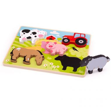 Vkladací puzzle Bigjigs Toys Farma