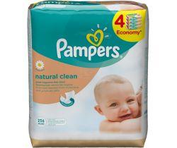 Vlhčené obrúsky 4x64 ks Pampers Natural Clean