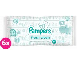 Vlhčené obrúsky 6x64 ks Pampers Fresh Clean