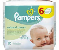 Vlhčené obrúsky 6x64 ks Pampers Natural Clean
