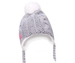 Zimná čiapočka s brmbolcom a šnúrkami Yo Grey
