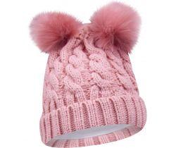 Zimná pletená čiapočka s bambulkama Yo Pink